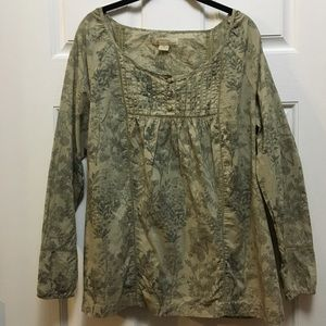 Natural Reflections Popover Floral Blouse
